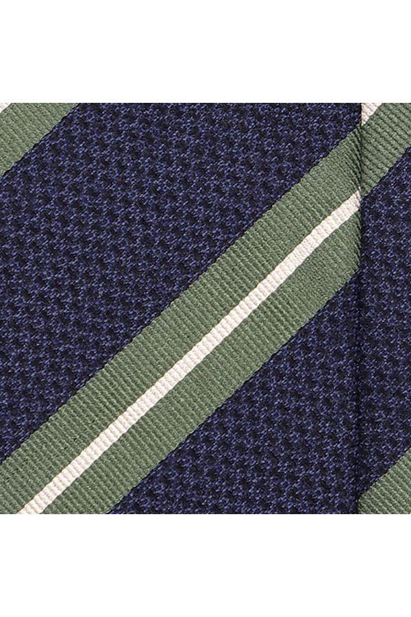 Cravatta 3 pieghe SENZASHI in seta tessuta-Blu/Verde
