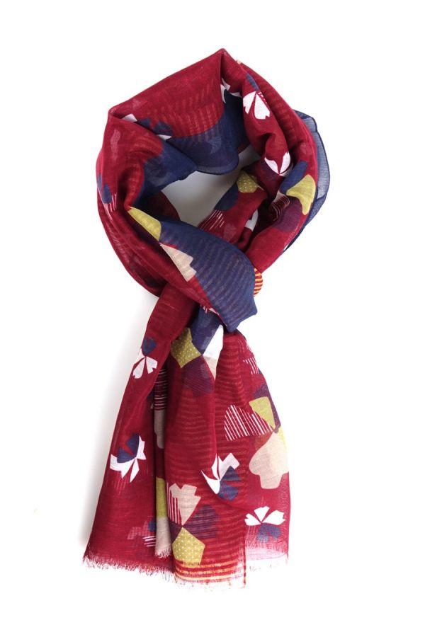 Sciarpa cotone/lino Rosso Scuro  - TEVERE