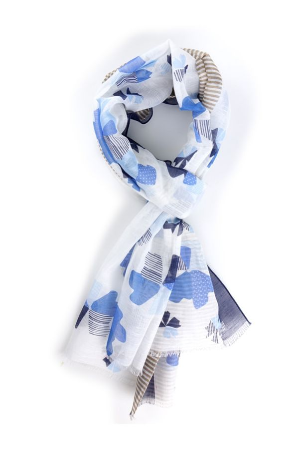 Sciarpa cotone/lino Bianco  - TEVERE