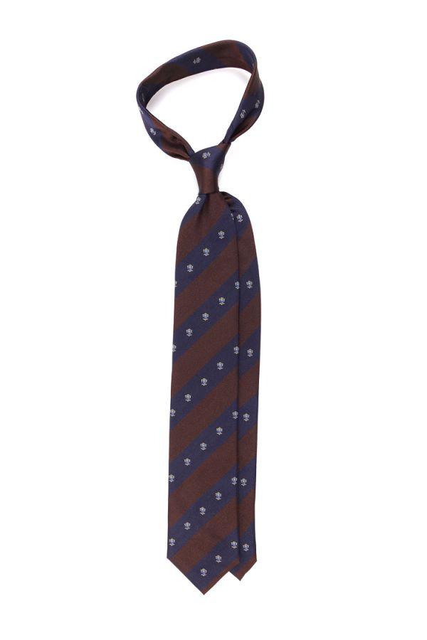 Cravatta 3 pieghe SHIELD in seta tessuta-Blu/Marrone