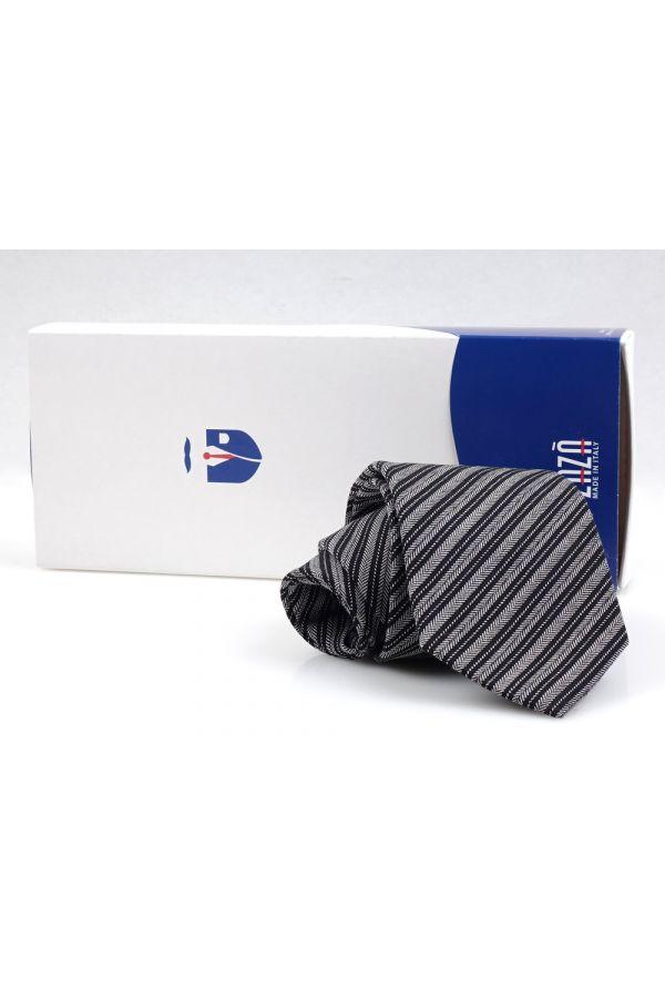 Cravatta 3 pieghe TERRA in lana - Grigio/Nero