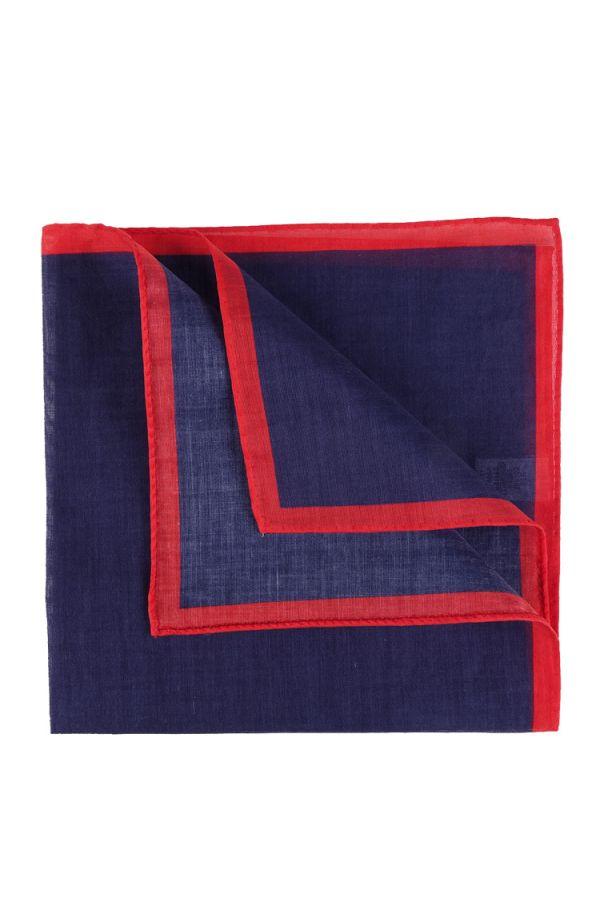 Fazzoletto da taschino 100% cotone UNICO - Blu/Rosso