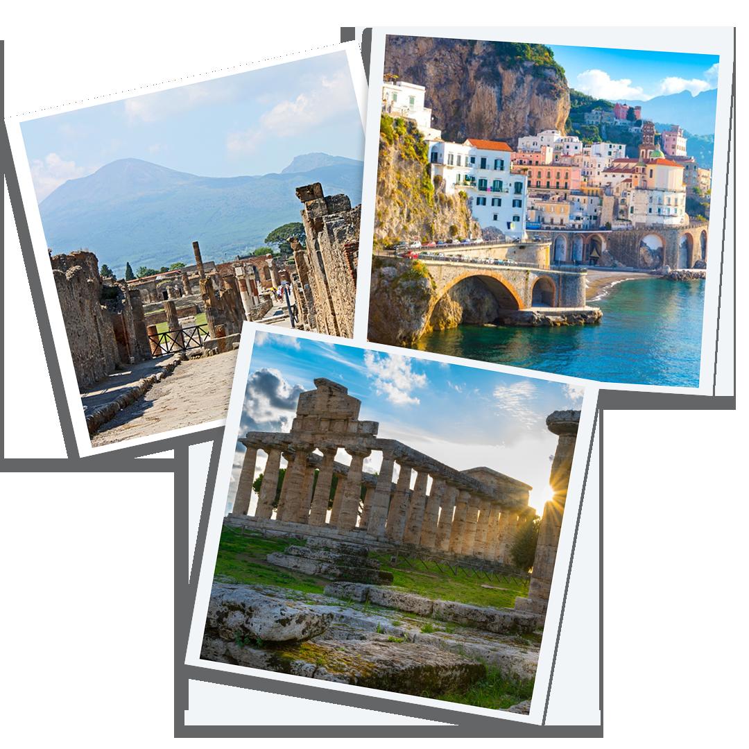 Le bellezze della campania. Costiera Amalfitana - Templi di Paestum - Scavi di Pompei