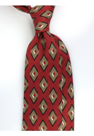 Cravatta 3 pieghe BATALA in seta Newcatwill -Ruggine