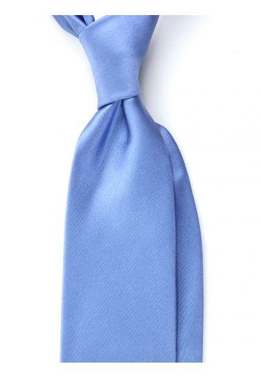Cravatta 3 pieghe AMANTEA  seta raso- Blu Avion