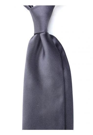 Cravatta 3 pieghe AMANTEA in seta raso - Grigio Scuro