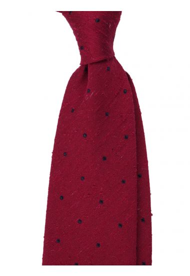 Cravatta 3 pieghe TICCA - seta shantung-Rosso