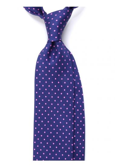 3 Fold Tie luxury printed silk BRADFORD-Blue/Pink