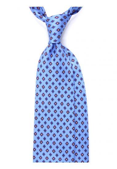 Cravatta 3 pieghe seta lusso stampata OXFORD- Celeste