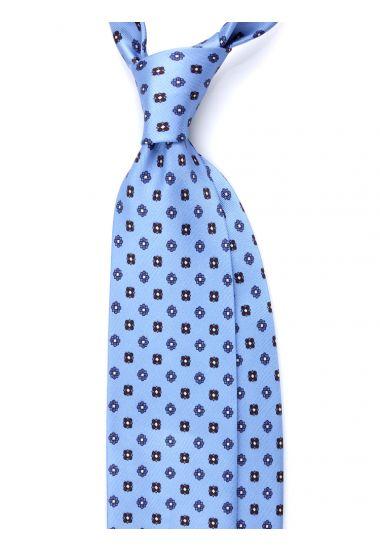 Cravatta 3 pieghe seta lusso stampata NOTTHINGHAM- Celeste