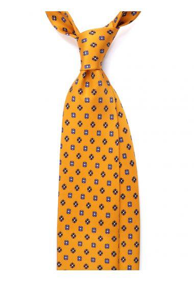Cravatta 3 pieghe seta lusso stampata NOTTHINGAM- Giallo