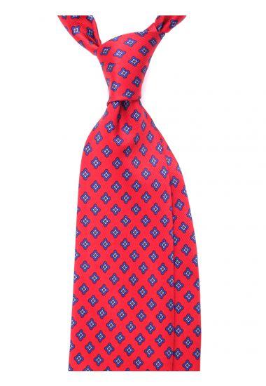 Cravatta 3 pieghe seta lusso stampata NEWCASTLE- Rossa