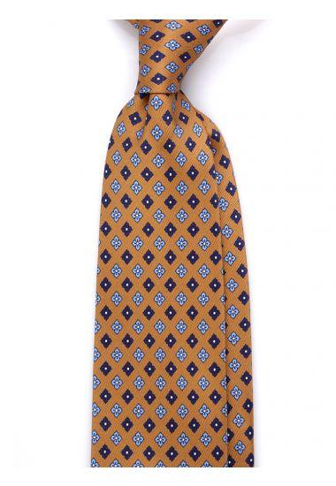 Cravatta 3 pieghe seta lusso stampata SHEFFIELD- Beige