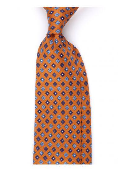 Cravatta 3 pieghe seta lusso stampata SHEFFIELD- Arancione