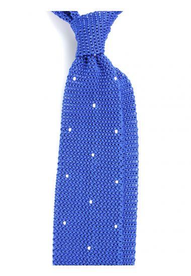 Cravatta a maglia AMALFI pois - Blu Elettrico/Bianco