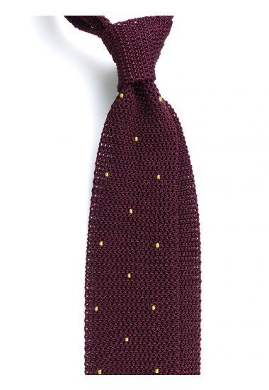 Cravatta a maglia AMALFI pois - Bordeaux/Marrone