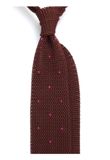 Cravatta a maglia AMALFI pois - Marrone/Fucsia