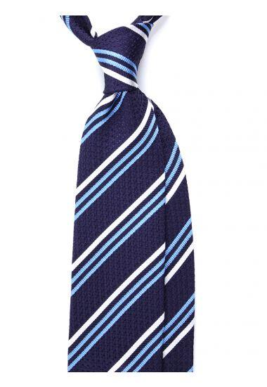 Cravatta 3 pieghe RIGOLA in seta_Blu