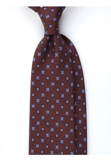 Cravatta 3 pieghe ORIENTE in seta Newcatwill -Marrone