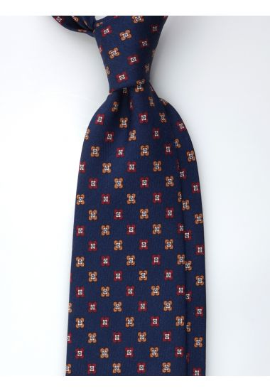 Cravatta 3 pieghe ORIENTE in seta Newcatwill -Blu /Bordeaux