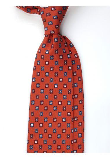 Cravatta 3 pieghe ORIENTE in seta Newcatwill -Ruggine