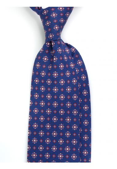 Cravatta 3 pieghe YEMEN in seta Newcatwill -Blu
