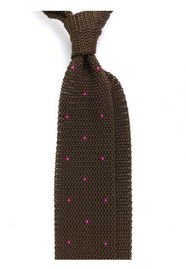 Cravatta a maglia AMALFI pois - Verde Oliva/Marrone