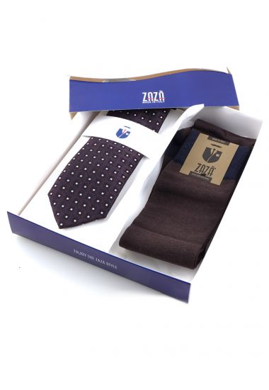 3-fold necktie with solid socks SQUARE