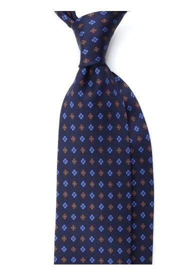 Cravatta 7 Pieghe NORWICH Seta stampata-Blu