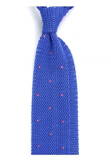 Cravatta a maglia AMALFI pois - Blu elettrico/Corallo