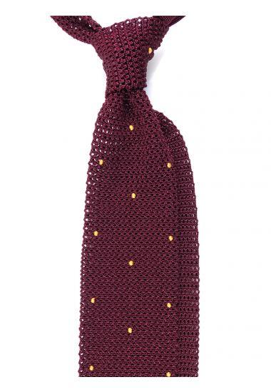Cravatta a maglia AMALFI pois - Bordeaux/Giallo