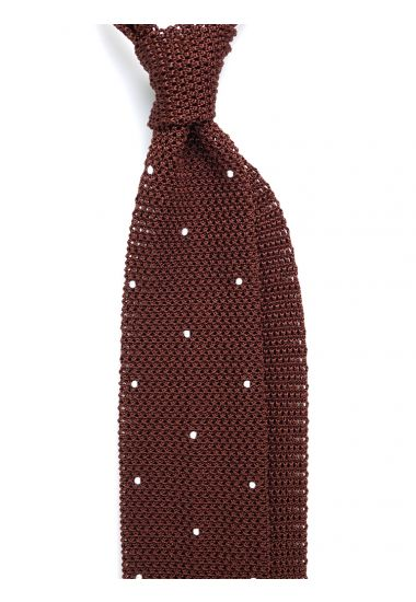 Cravatta a maglia AMALFI pois - Marrone/Bianco