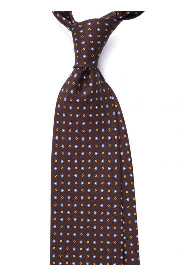Cravatta 3 pieghe AD2037 in seta inglese stampata_Marrone