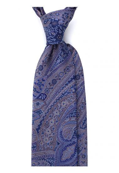 Cravatta 3 pieghe CACHEMIRE in seta_Blu