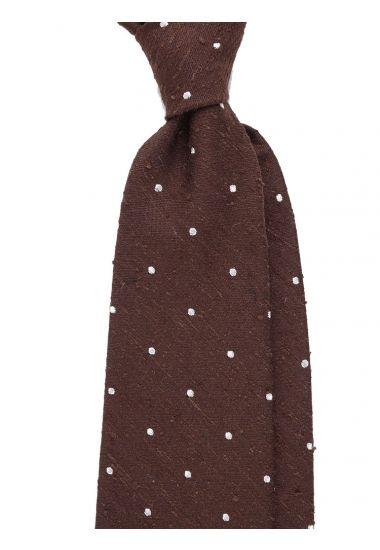Cravatta 3 pieghe TICCA - seta shantung-Marrone