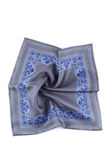 Printed silk double face pocket square MARBLE