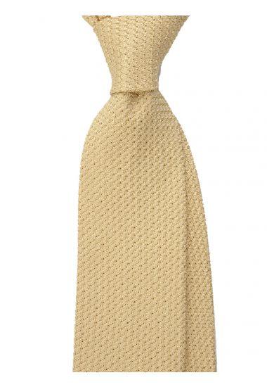 Cravatta 3 pieghe RUBINO - Garza di seta -Giallo con impuntura a mano