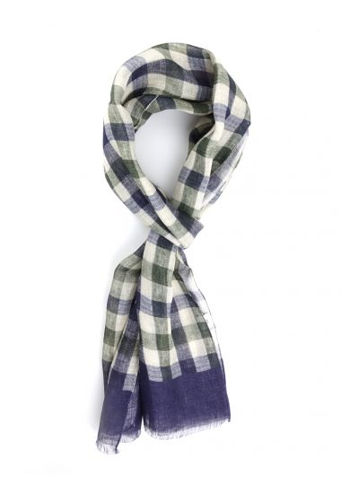 Sciarpa 100% lino PLAID-Blu