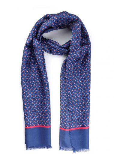Sciarpa 100% seta CHARLES-Blu