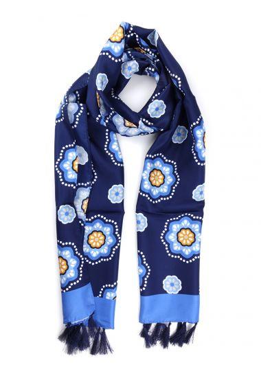 Sciarpa 100% Seta con nappe ALIGHIERI-Blu