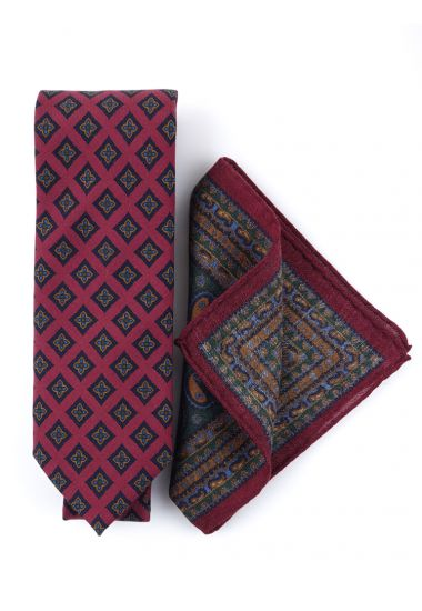Printed wool 3 fold-tie with pocket square ASCORT
