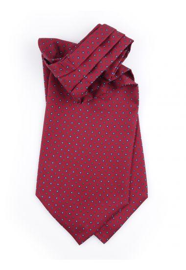 Men ascot AD1888 burgundy English printed silk