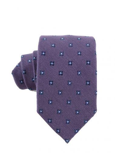 Cravatta 3 pieghe seta/lana GRETA-Viola