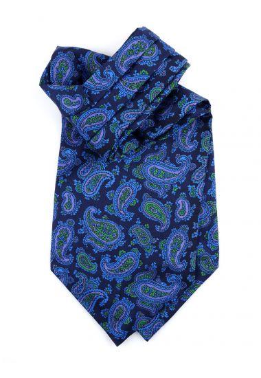 Ascot uomo AD1932 blu in seta inglese stampata