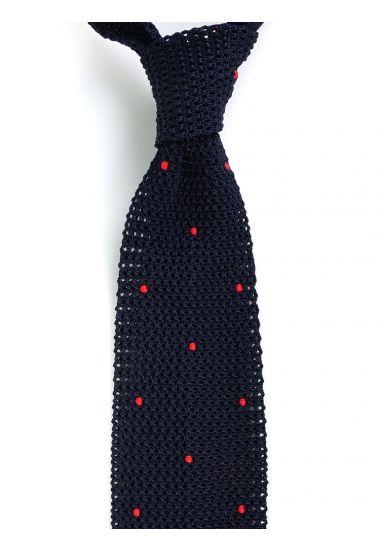 Cravatta a maglia AMALFI pois - Blu scuro/Rosso