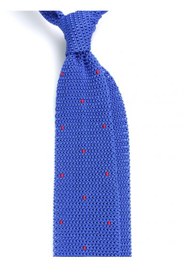 Cravatta a maglia AMALFI pois - Blu elettrico/Rosso