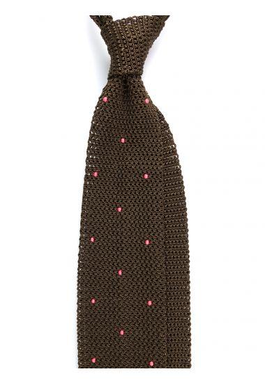 Cravatta a maglia AMALFI pois - Verde Oliva/Corallo