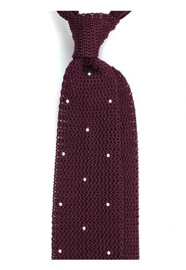 Cravatta a maglia AMALFI pois - Bordeaux/Bianco