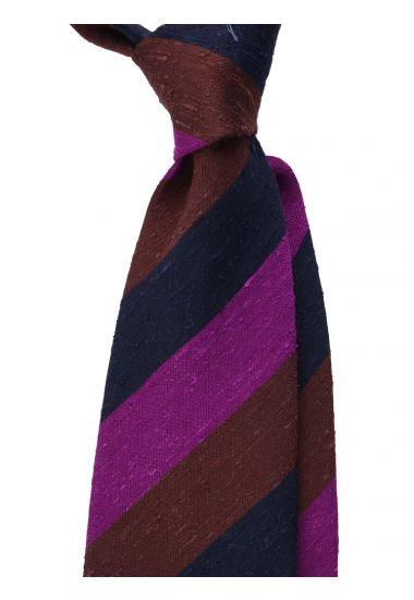 Cravatta 3 pieghe BIBIA- Seta shantung-Blu/Fucsia