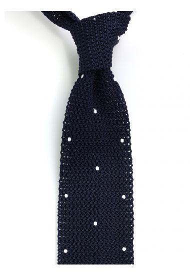 Cravatta a maglia AMALFI pois - Blu scuro/Bianco
